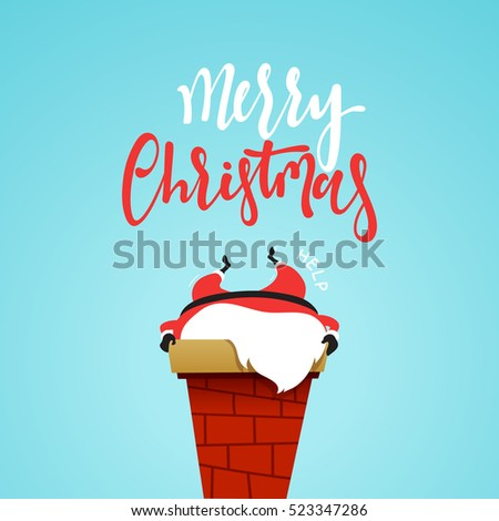 Santa Claus cartoon christmas character, stuck in the chimney of the fireplace. Santa Claus funny and cute in flat style. Christmas cards and banners. Vector Illustration