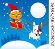 Santa Claus cat riding his magical flying sleigh with the red nosed french bulldog - stock photo