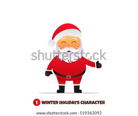 Santa Claus character. Merry Christmas and Happy New Year. Santa Claus cartoon character.