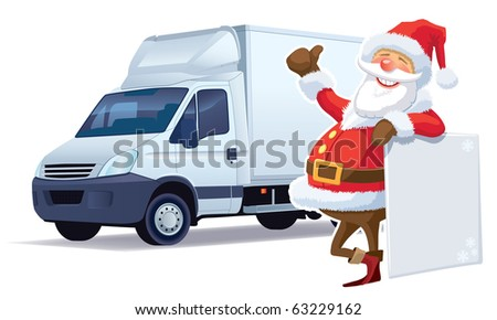 Santa Claus christmas advertising and delivery truck in the background. - stock vector