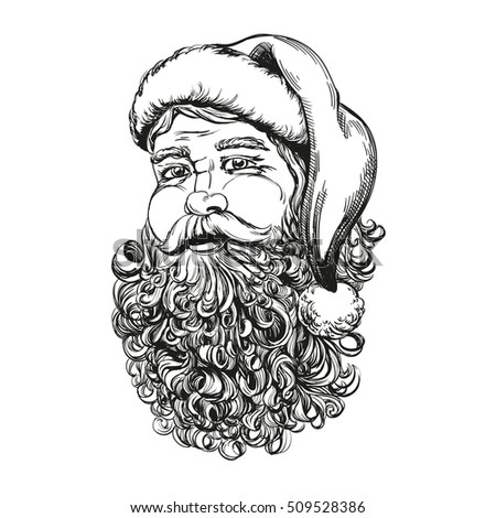 Santa Claus, Christmas symbol hand drawn vector llustration sketch
