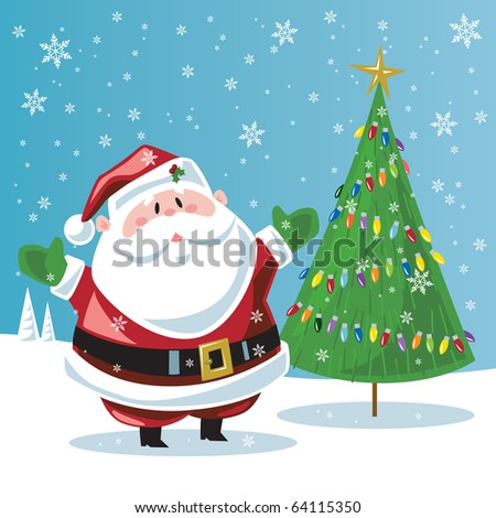 Santa Claus & Christmas tree - stock vector