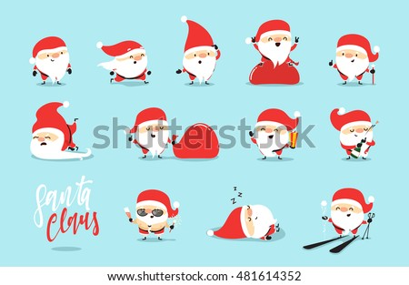 Santa Claus collection of Christmas. Characters cute flat. Funny cartoon character with different emotions. Santa Claus ready new year.