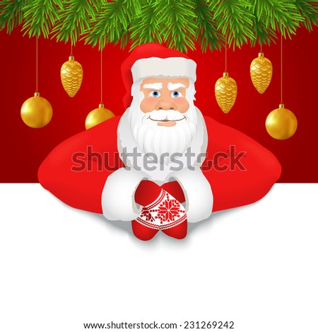 Santa Claus copy space red background. Smiling Santa Claus on the red background decorated with fir branches and Xmas ornaments, white copy space for any text. Vector - stock vector