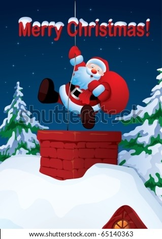 Santa Claus descends the chimney. He keeps a bag of gifts. - stock vector