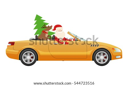 Santa Claus drive on cute yellow luxury car with reindeer and green fir tree. Santa prepares cute present for businessman. Vector illustration of expensive auto with Father Christmas and Rudolf