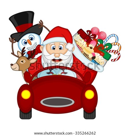 Santa Claus Driving a Red Car Along With Reindeer, Snowman And Brings Many Gifts Vector Illustration
