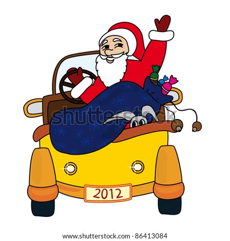 Santa Claus driving car - stock vector