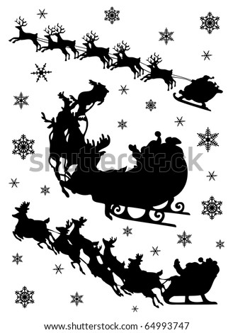 Santa Claus driving in a sledge. Vector silhouette set. - stock vector