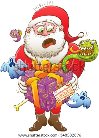 Santa Claus feeling nervous, surprised and scared after having received a weird Christmas present, wrapped in a purple paper and decorated with an orange bow, from Halloween creepy creatures - stock vector