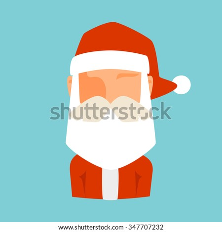 Santa Claus flat icon vector illustration. Santa Claus cartoon old man red hat silhouette. Santa Claus traditional costume. Santa Claus icon avatar face. Santa Claus face, faceicon. Christmas Santa - stock vector
