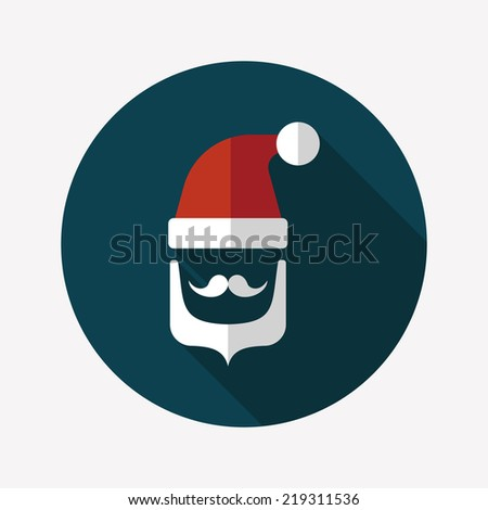 Santa Claus flat icon with long shadow, eps10 - stock vector