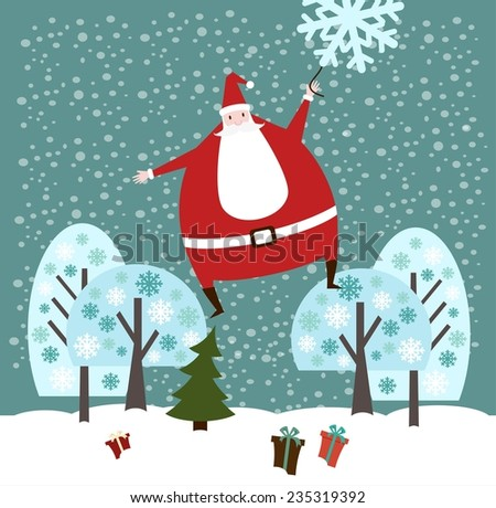 Santa Claus flies on a snowflake in a forest with presents illustration - stock vector