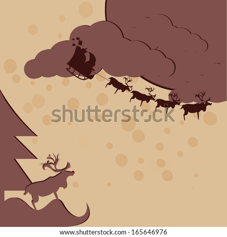 Santa Claus fly on the sky with reindeer