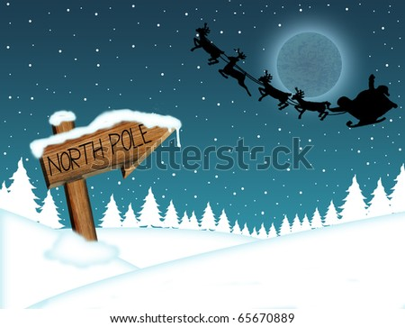 Santa Claus flying in front of the moon and wood sign with North Pole