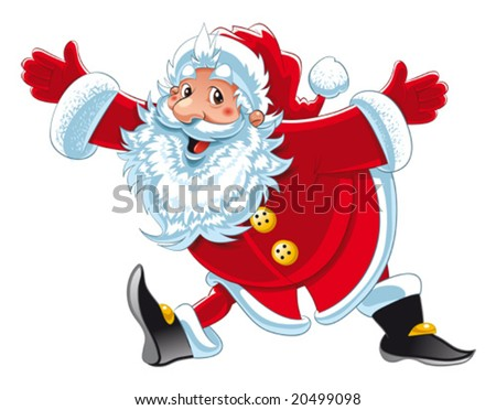Santa claus funny cartoon and vector isolated character stock