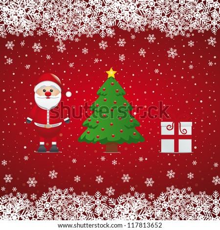 santa claus gift and christmas tree snowy - stock vector