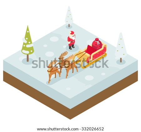 Santa Claus Grandfather Frost  Sleigh Reindeer Gifts New Year Christmas Isometric Flat Design Icon Template Vector Illustration - stock vector