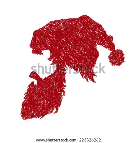 Santa Claus hand drawn isolated on a white backgrounds, vector illustration - stock vector