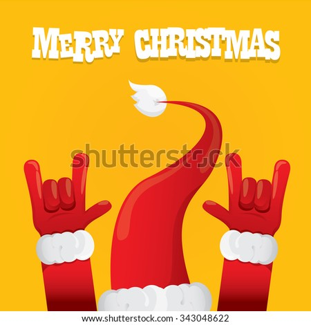 Santa Claus hand rock n roll icon vector illustration. Christmas Rock concert poster design template or greeting card - stock vector