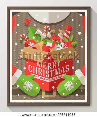 Santa Claus hands holding a box with Christmas toys, gifts and sweets - Holidays flat style poster in wooden frame. Vector illustration - stock vector