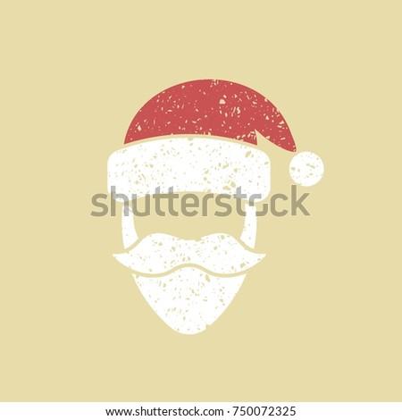 santa claus hat beard template christmas stock vector 750072325