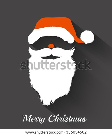Santa Claus hat and beard template .Christmas Retro Santa Card - in vector - stock vector