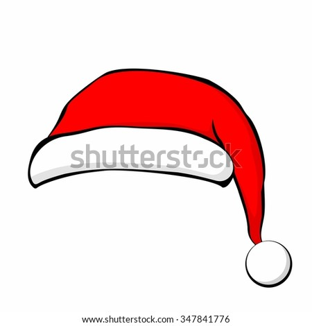 Santa Claus hat in flat style. Vector Illustration. - stock vector