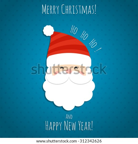 Santa Claus' head on a blue background postcard. Vector illustration.