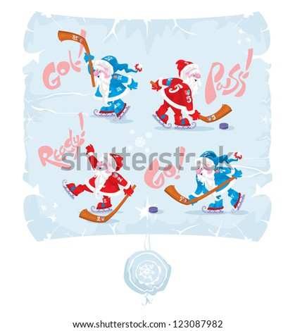 Santa Claus. Hockey tradition, 4, vector