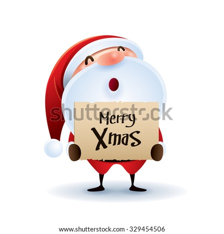Santa Claus hold banner with Christmas greetings. - stock vector