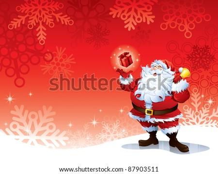 Santa Claus holding a gift - stock vector