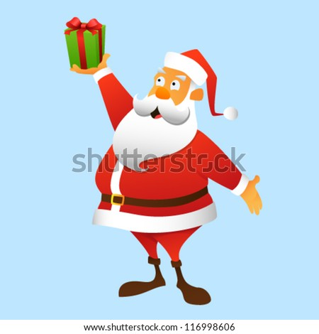 Santa Claus holding a gift at arm, full-length