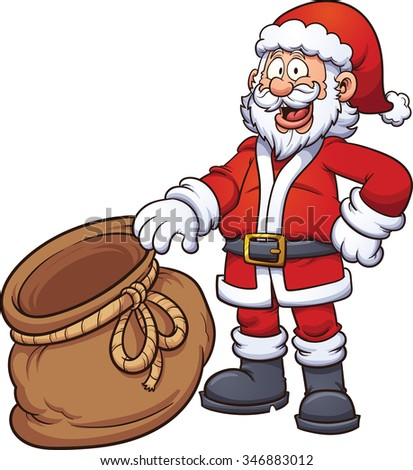 Santa Claus holding an open bag. Vector clip art illustration with simple gradients. Santa, front of the bag and back of the bag on separate layers, so something can be placed inside the bag. - stock vector
