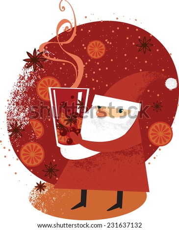 Santa Claus holding big glass of mulled wine - stock vector
