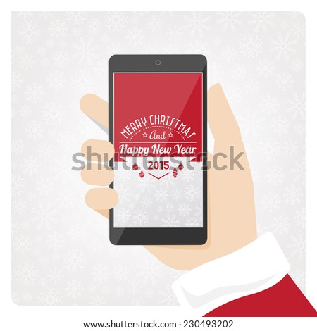 Santa claus holding mobile smart phone with text and copyspace. - stock vector