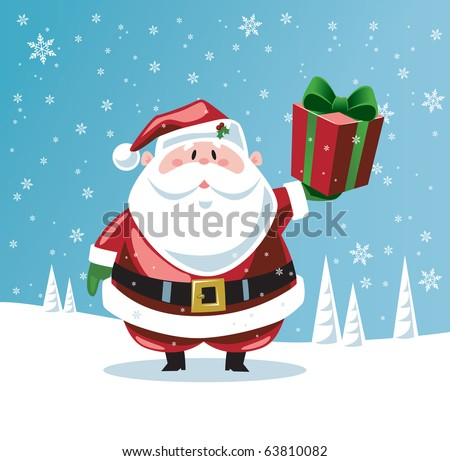 Santa Claus holding up a gift - stock vector