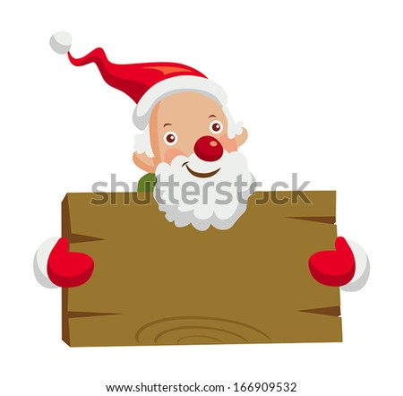 Santa Claus holding wooden board - stock vector