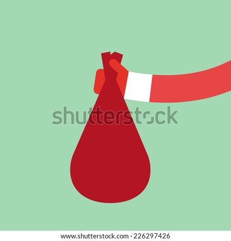 Santa Claus holds red bag flat design, vector illustration - stock vector