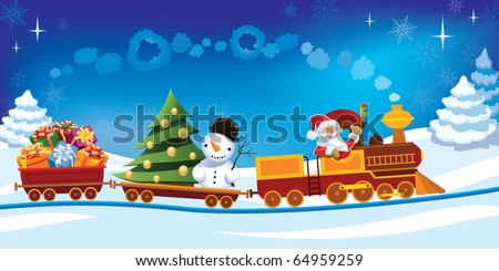 Santa Claus in a toy train with gifts, snowman and christmas tree. - stock vector