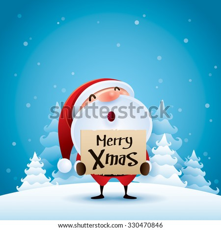 Santa Claus in Christmas snow scene - stock vector