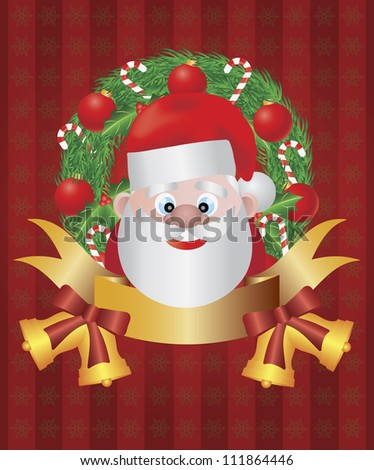 Santa Claus in Christmas Wreath with Tree Ornaments Candy Cane Holly Leaf Berries Bells and Bow Vector Illustration
