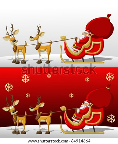 Santa-Claus in Sleigh with reindeer on Christmas Time
