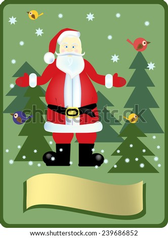 Santa Claus in the wood - stock vector