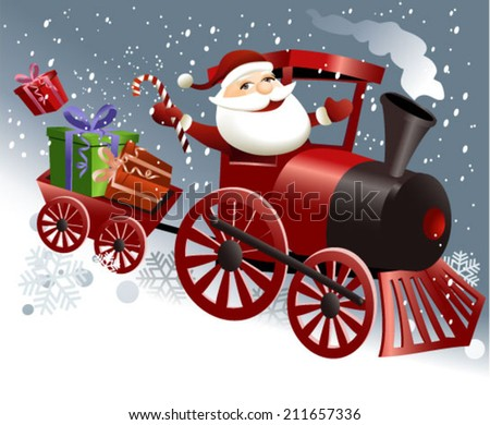 Santa Claus in train - stock vector