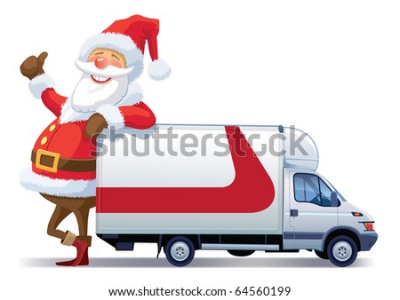 Santa Claus is advertising with christmas delivery truck - stock vector