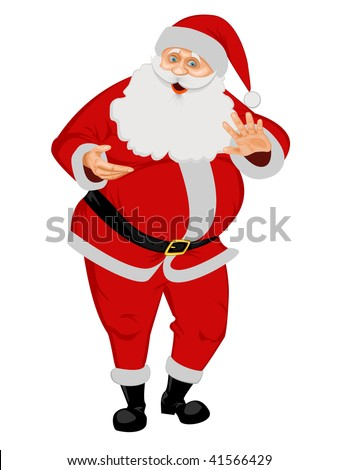 Santa Claus isolated on white. No Gradient Meshes, no Radial and no Linear gradients used. - stock vector
