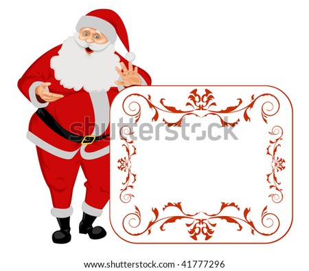 Santa Claus isolated on white with blank sign. No Gradient Meshes, no Radial and no Linear gradients used. - stock vector