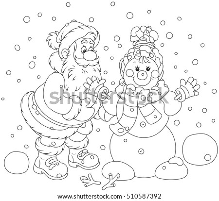Santa Claus making a funny smiling snowman with a cap, a scarf and mittens
