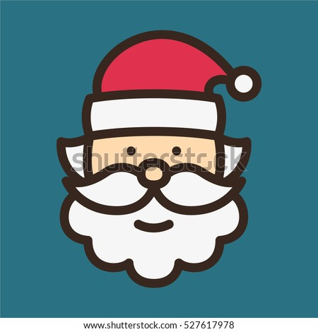 santa claus minimal color flat line stock vector 2018 527617978 shutterstock - Pictures Of Santa Claus To Color
